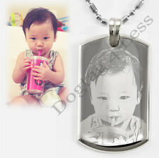 Custom Photo Image Engraving Mini Luxury Dog Tag Pendant Necklace Free Engraving
