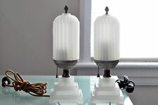 Vintage Pair of Art Deco Milk Glass Table Lamps
