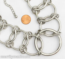 Chico's Signed Necklace Silver Tone Chunky Looped Rings Chain Statement