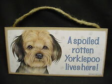 YORKIEPOO A Spoiled Rotten DOG PICTURE ART SIGN wood WALL HANGING PLAQUE puppy