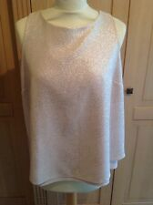 LOVELY NEXT BEIGE AND GOLD GLITTERY WRAP OVER BACK TOP UK SIZE 12 NWOT