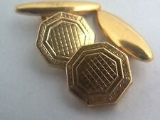 Vintage 1930's Octagonal Art Deco Gold Plated Cufflinks