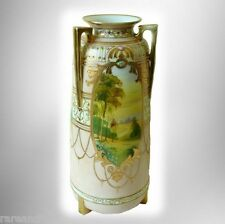 Nippon large vintage vase with hand painted scenes, three handles, and gold