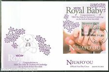 NIUAFO'OU  2013 BIRTH OF PRINCE GEORGE SOUVENIR SHEET  FIRST DAY COVER