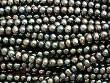 Black Peacock 16 inch loose string freshwater beads 5-6mm Potato Pearls