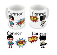 Personalised Printed Children's Kids Super Heroes Any Name Mug Cup Gift Boxed