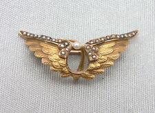 Antique 10K Yellow GOLD WINGS Watch Pin Brooch Seed Pearls Art Nouveau Victorian
