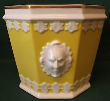PORTUGESE VISTA ALEGRE CHINA OCTAGONAL PLANTER POT P-3340 YELLOW & WHITE FACES