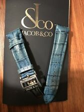 JACOB & CO 22MM WATCH BAND FOR 47MM WATCHES HAND MADE BLUE LEATHER BAND
