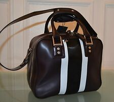 DIESEL BLACK GOLD BROWN HANDBAG DOCTOR'S ZIPPER STRIPED NEW HANDLE STRAP