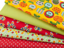 Fat Quarter Bundle - Funky Apples - Poly Cotton Fabric Remnants Craft - Yellow