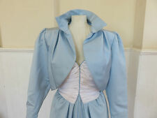 VINTAGE 80s FRANK USHER EVENING DRESS & JACKET* PALE BLUE*UK12