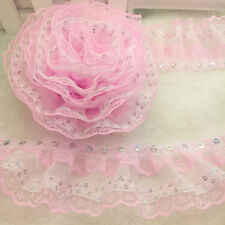 New  Hot 5 Yards 4-layer Pink Pleated Trim Mesh Lace Sewing Sequin Gathered NO66