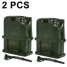 Jerry Gas Can Fuel Tank w/ Holder Steel 5 Gallon 20L Nato Style Military 2PCS
