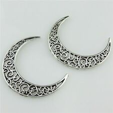 20434 15pcs Vintage Silver Hollow Heart Crescent Moon Pendant Connector Cameo
