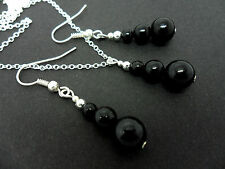 A SILVER PLATED BLACK ONYX  NECKLACE AND  EARRING SET. NEW.