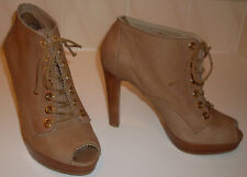 RUSSELL&BROMLEY Stuart Weitzman Tan Peep Toe Ankle Shoe Boots UK9 EU42 RRP£245