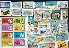 50 ALL DIFFERENT BI-PLANES ON  STAMPS (AIR PLANES)