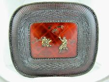 JAPANESE MEIJI PERIOD BOWL MADE FROM WOVEN BRONZE & LACQUERWARE  SIGNED C1890'S