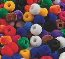 50 Fuzzy Pony Beads Kids Craft Multi-Color Flocked Great Colors 6 x 9 mm