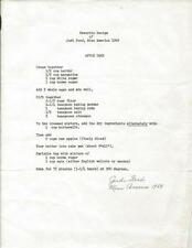 Judi Ford Miss America 1969 Signed Typed Apple Cake Recipe