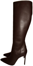 $1495 MANOLO BLAHNIK Tall Knee Brown Leather Boots Pointy Toe Booties 38.5