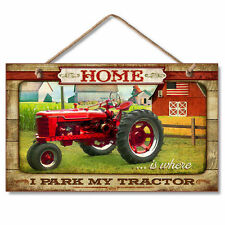 HOME IS WHERE I PARK MY TRACTOR, Country, Barn,USA Flag Wooden Wood Sign Picture
