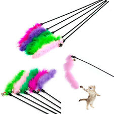 Funny Cat Kitten Pet Teaser Turkey Feather Wire Chaser Wand Sticks Toys Sale