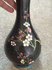 Vintage oriental cloisonné émail décoration cherry blossom vase