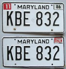 Maryland 1986 License Plate PAIR # KBE 832