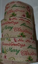 Wired Ribbon~Happy Holiday~Peace~Blessing~Angel~Tan~Christmas Sayings~Wreath~Bow