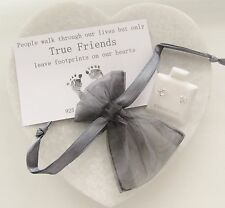 True Friends Footprints Gift With 925 Sterling Silver CZ Heart Earrings & Bag