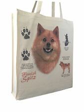 Finnish Spitz (w) Reusable Cotton Shopping Bag Tote with Gusset and Long Handles