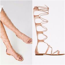 BLOGGERS FAV!!! ZARA NUDE 100% LEATHER FLAT GLADIATOR SANDALS SIZE UK 5 EU 38