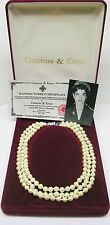 Jackie Kennedy Classic Triple Strand Simulated Pearl Necklace with Certificate