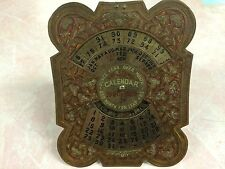 VINTAGE BRASS 40 YEAR DESK TOP CALENDER 1960-1999