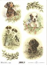 Rice Paper for Decoupage Scrapbooking Vintage Christmas Puppy Holly A4 ITD R1016