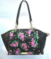 NWT Betsy Johnson Floral Dome Satchel Black/Pink Hand Bag Purse MSRP $88.00
