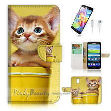 Samsung Galaxy S5 Flip Wallet Case Cover! P1080 Kitty Pussy Cat