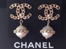 CHANEL 2016 TOP FALL GOLD CHAIN CC PEARL DANGLE DRESS EARRINGS NEW GORGEOUS