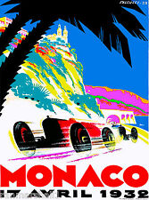 1932 4th Monaco Grand Prix Automobile Race Car Advertisement Vintage Poster