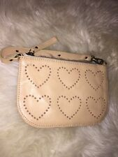 Vintage Moschino Heart Wristlet Beige NWOT Leather Made In Italy