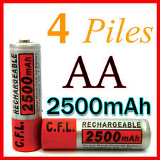 4 PILES ACCUS RECHARGEABLE AA NI-MH 2500mAh 1.2V LR06 MIGNON - DIRECT DE FRANCE