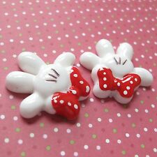 "10x (1 1/8"") Resin Mouse Glove/Hand w/Bow Flatback Beads for Mickey/Minnie SB482"