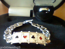 MENS WOMENS LCS DIAMOND POKER CARD BRACELET RING SZ 10 SZ 11 SZ 12 SZ 13 SZ 14