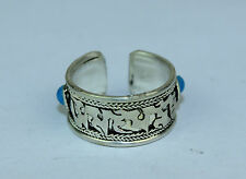 Tibetan Tribal Adjustable Ring Pewter Cuff Handmade Nepal Nepalese FairTrade