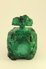 Czech Malachite Glass Rose Flower Relief Perfume Bottle 1930's Hoffman Schlevogt