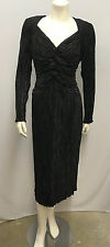 VINTAGE MARY MCFADDEN COUTURE DRESS BLACK FORTUNY PLEATED SIZE 12 FITS LIKE A 10