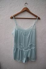 Vintage baby blue dentelle teddy lingerie cami knickers playsuit all in one 1980s