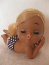 VINTAGE RUBBER HAWAIIAN HULA DOLL KISSING BLONDE MADE IN JAPAN SUN BATHING